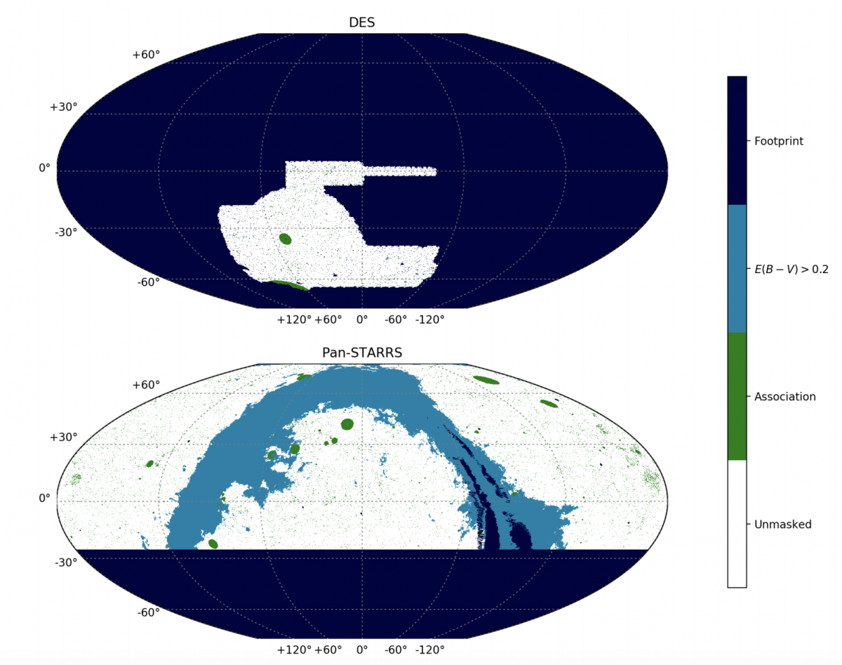 map of observational areas from the DES and Pan-STARRS survey shows which regions of the sky were covered in this analysis. Areas darkened out were not covered, white areas were where data was collected and from where it was analyzed