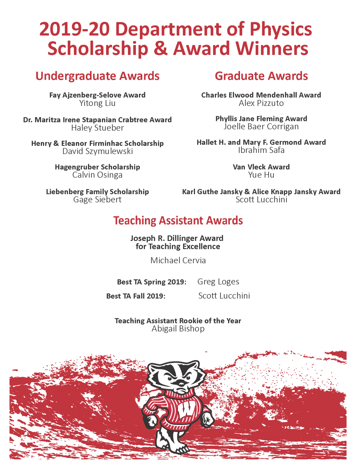 program listing of the awards and scholarships