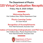 listing of the topics and people speaking at graduation with UW graduation images as side borders