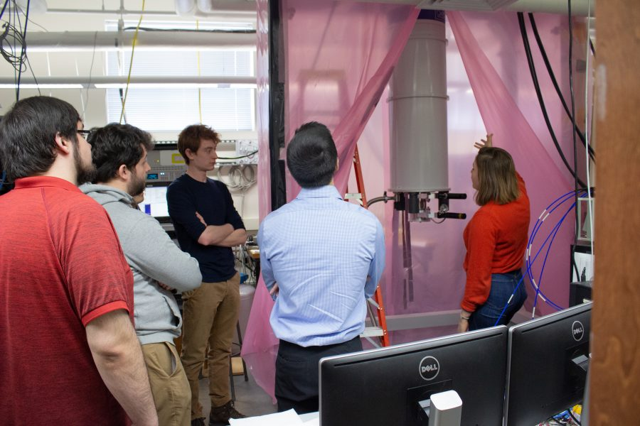 students on a quantum computing lab tour