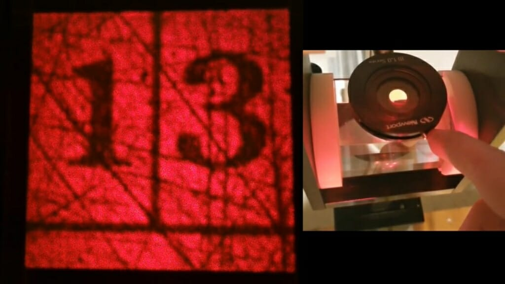 an image of the number 13 and an apparatus to view the fourier transform