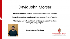 slide about David Morser's time as MSPQC student