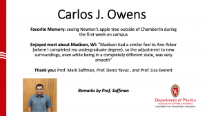 slide about Carlos Owens time as a MSPQC student