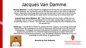 slide about Jacques Van Damme's time as MSQPC student