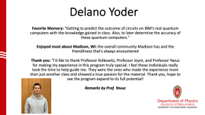 slide about Del Yoder's time as MSPQC student