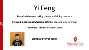 slide about Yi Feng's time as MSPQC student