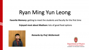 slide about Ryan Leong's time as a MSPQC student