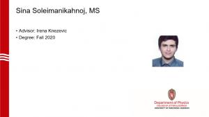 a slide listing Sina's name, advisor and a profile photo