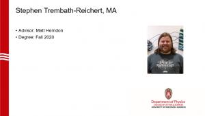a slide showing Stephen's name, advisor (herndon) and a profile photo