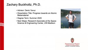 slide lists info about graduate and a profile photo. advisor: Yavuz, next steps: research associate at space science & engineering center at UW