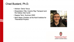slide lists info about graduate and a profile photo. Advisor: Yavuz. next steps: postdoc at Kavli Institute for theoretical physics.