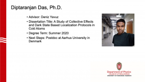 slide lists info about graduate and a profile photo. advisor: Yavuz. Next steps: postdoc in Denmark.