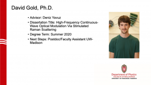 slides lists info about graduate and a profile photo. Advisor: Yavuz. next steps: postdoc / faculty assistant at UW