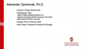 slide lists info about graduate. Advisor: McDermott. next steps: research scientist at Google