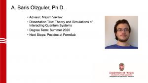 slide lists info about graduate. Advisor: Vavilov. next steps: postdoc at Fermilab