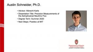 slides lists info about graduate. Advisor: Karle. Next steps: postdoc at MIT