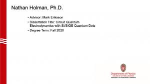 slide lists info about graduate. Advisor: Eriksson.