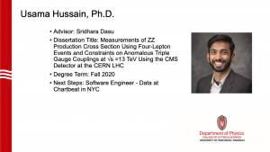slide lists info about graduate. Advisor: Dasu; next steps: software engineer at Chartbeat NYC
