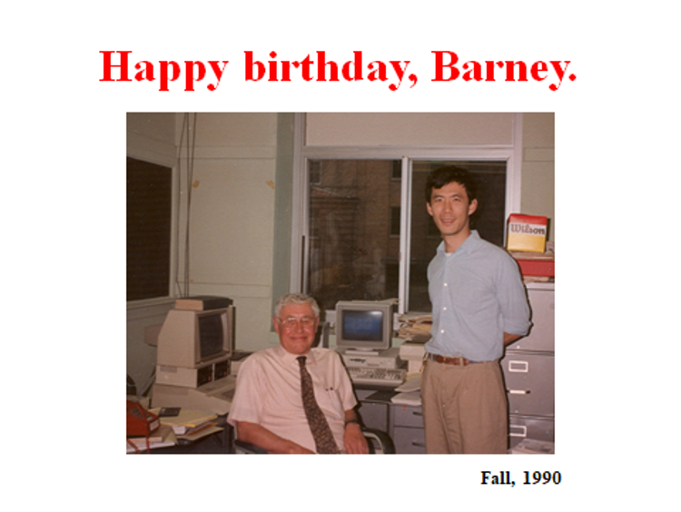 """Barney is seated and Fu-Kwo Jim Men is standing next to him, and there is a title that says """"happy birthday barney"""" fall 1990"""