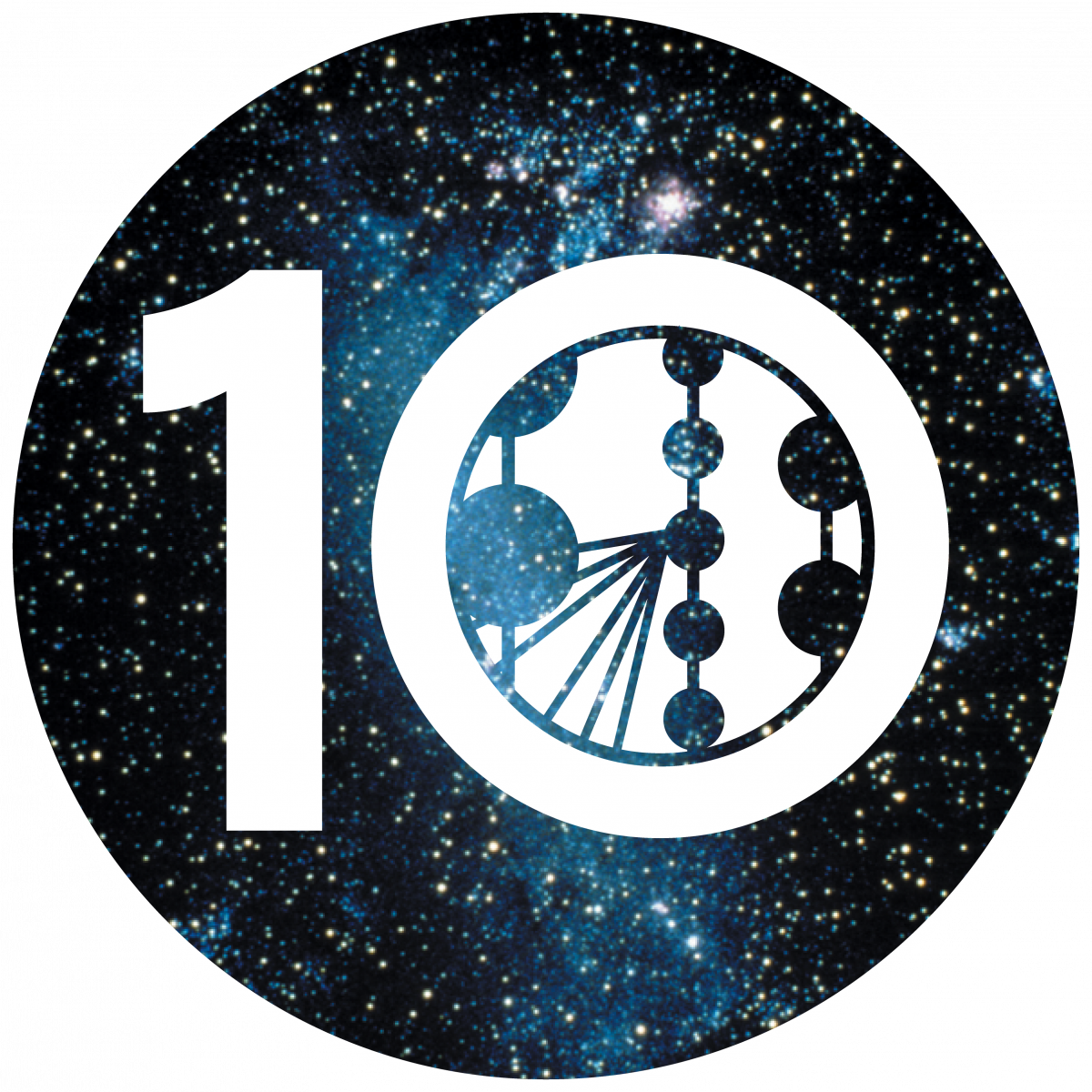 graphic of the number 10 with a cartoon of the IceCube detectors in the 0. Background is of outerspace/night sky, lots of stars